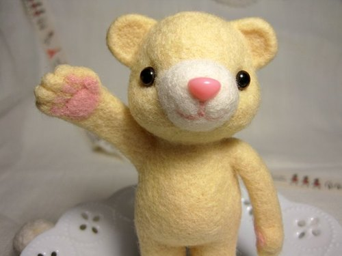 Wool felt banana milk - ice cream Baby Bear