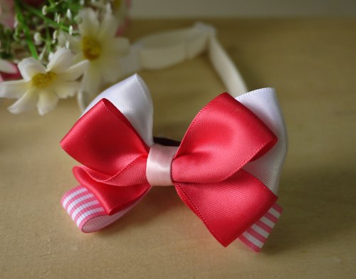 Safe pet collar x peach powder / sweet pink striped cat dog / neckband / bow tie / tweeted ♥ cherry pudding Cherry Pudding ♥