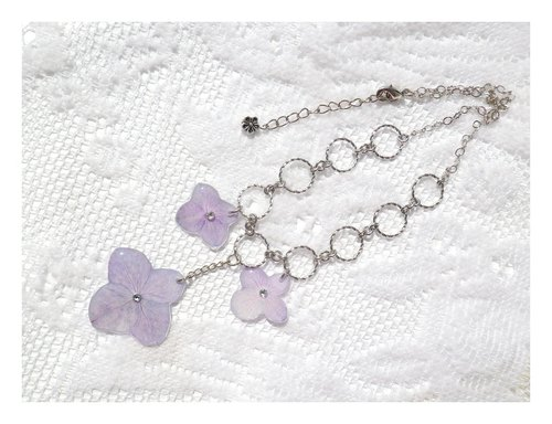 Anny's workshop handmade jewelry Yahua, light purple hydrangea flower necklace