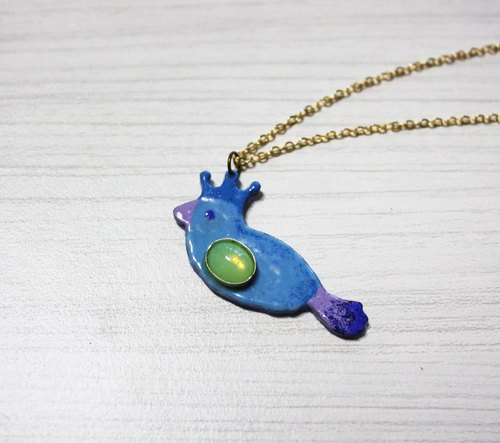 Lucky bird enamel diamond necklace (blue) left a