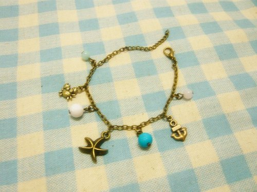 Nadia ♥ blue starfish summer * * * anchor crab colorful bracelets