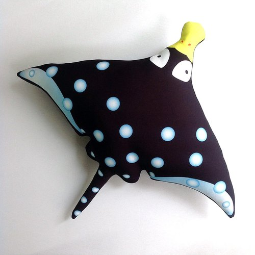 【Organic Cotton】Spotted Eagle Ray Cushions#Black