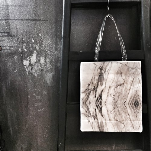 HARD RAYS White Marble Stone Canvas Tote