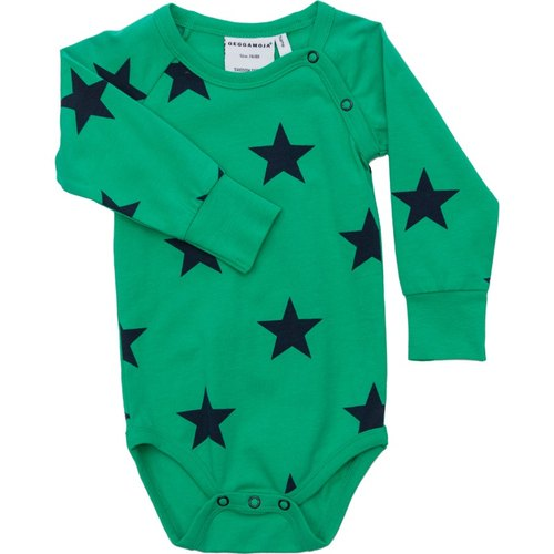 [Sweden] made of organic cotton clothing fashion star long sleeve package fart green (for 6M-24M)