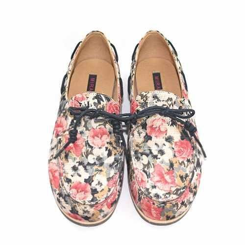 Dazzlingly Flower Print Boat Shoes M1106A Fuxia