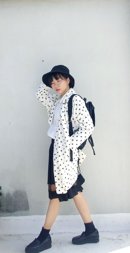 4.5studio foreign Geocaching vintage - white with black spots oversize cardigan coat