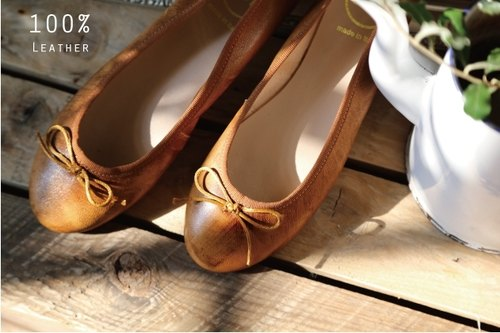 Italian leather ballet shoes Macaron latte