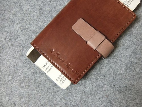 YOURS hand leather leather case passport holder. Jacking double color with deep wood leather + logs