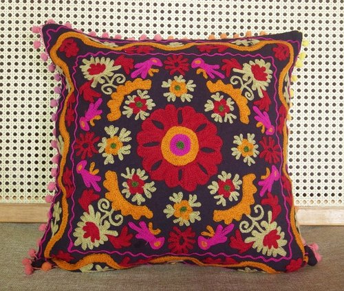 【Grooving the beats】Handmade Suzani Cushion Cover / Embroidery Pillow cover / Indian Handcrafted Embroidered Traditional Home Decorative Cotton Cushion Cover / Home Decor Hand Embroidered Woolen Turkish Cushion Cover / Pillow Case(Flower_Dark Blue fabric)