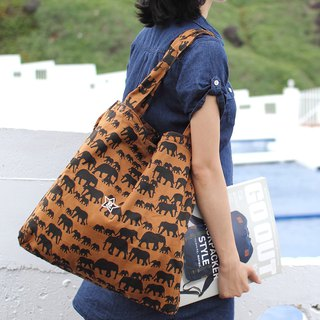 Double layer animal tote bag - elephant camel _100414