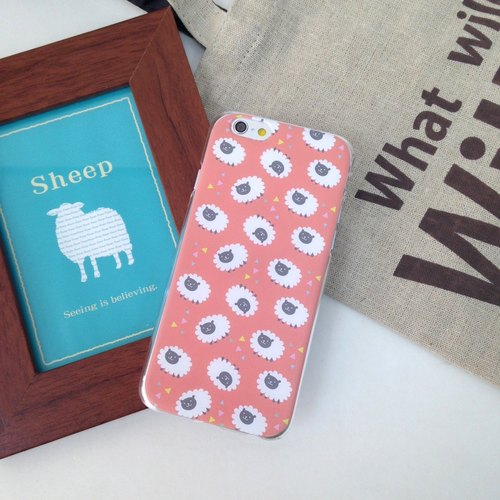 Peach Red Sheep Pattern Print Soft / Hard Case foriPhone 7 case, iPhone 7 Plus case, iPhone 6/6S, iPhone 6/6S Plus, Samsung Galaxy Note 7 case, Note 5 case, S7 Edge case, S7 case