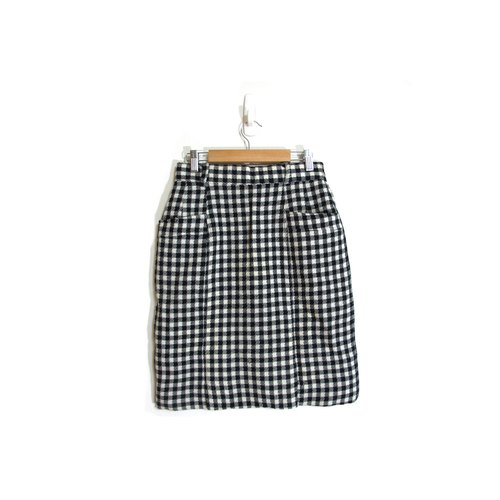 [Eggs] Malay film plant vintage black and white checkered wool skirt vintage pocket