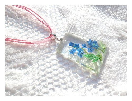 Handmade jewelry, Pressed flower jewelry, Forget Me Not Flower necklace