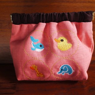Cute animal embroidery shrapnel gold storage bag wallet can be embroidered in English name please note