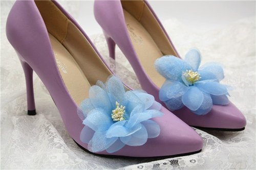 Hua Xie sky blue chiffon fairy temperament ornaments, decorative dinner heeled shoes clip, bridal shoes Flower Shoes