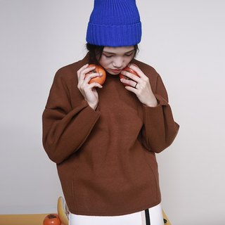 Wood leak Day / komorebi original design thick wool pullover sweater box loose minimalist tricolor colors can choose