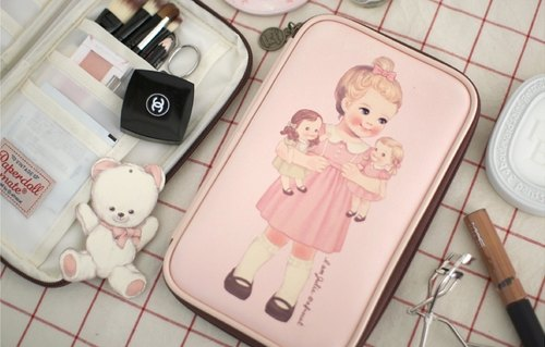 Korea [Afrocat] Paper doll mate Multi Pen Pouch L <Julie> Cute Doll Stationery waterproof hand income Carolina