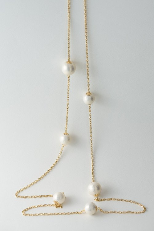 POUPée. Cotton pearl necklace [Long Pearl lace design cotton pearl necklace]