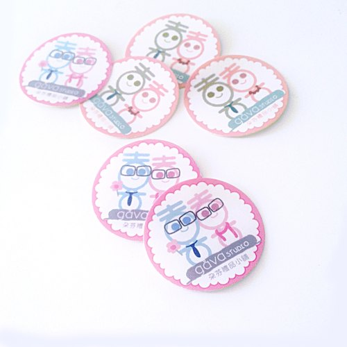 Hi dolls small round paste - hi Tie & marriage card hi word stickers, wedding stickers