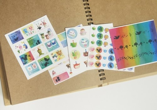 Colorful hand-painted small sticker posted a set of 5