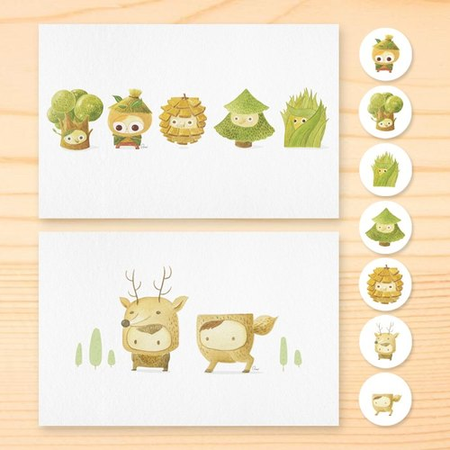 Forests play postcard round stickers Group