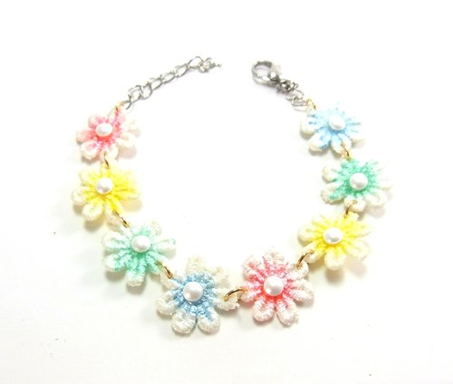 Rainbow Blossom water lace bracelet