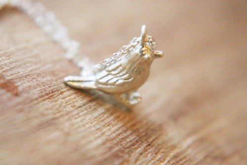 < ☞ HAND IN HAND ☜ > Silver - Silver Necklace Little Sparrow (0476)