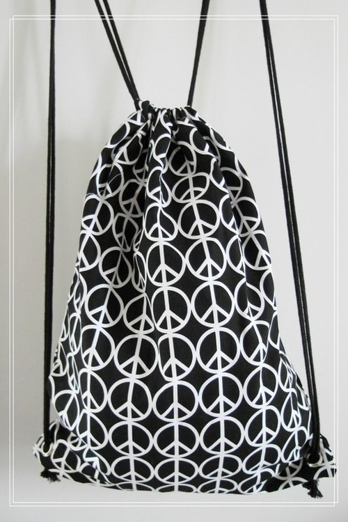 ~ M + Bear ~ Vintage Drawstring Backpack (Black Peace PEACE sample)