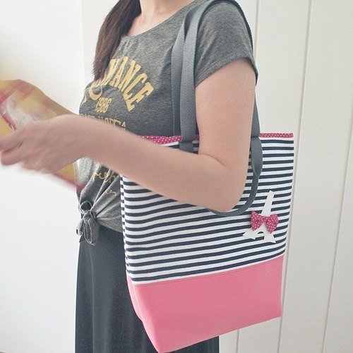hairmo. Tower hit color stripe shoulder bag (peach and blue)