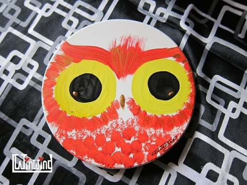 Large hand-painted murals * blush owl absorbent coasters
