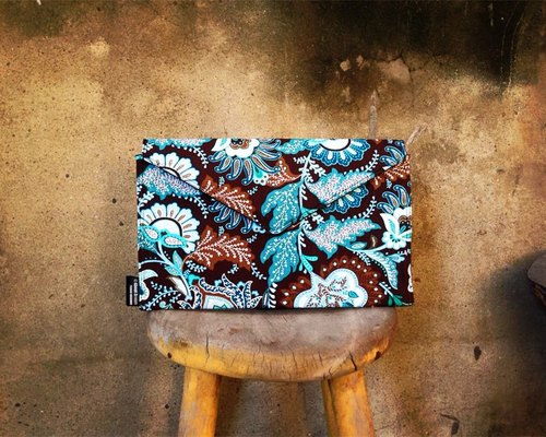 [Clutch / Shoulder Bag / envelope bag Dream Bag- blue-green psychedelic flowers]