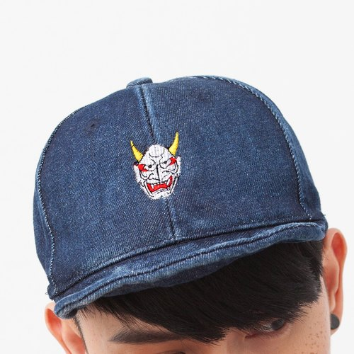 Denim Cap with Japanese Ghost Embroidery