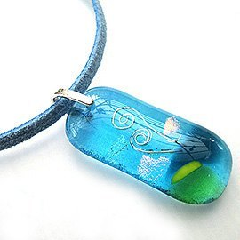 Fern (light blue) glass necklace