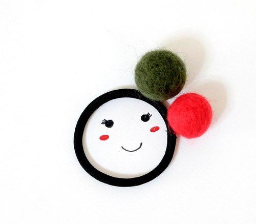 Colored sugar balls. Wool felt hair bundle (dark green + red)