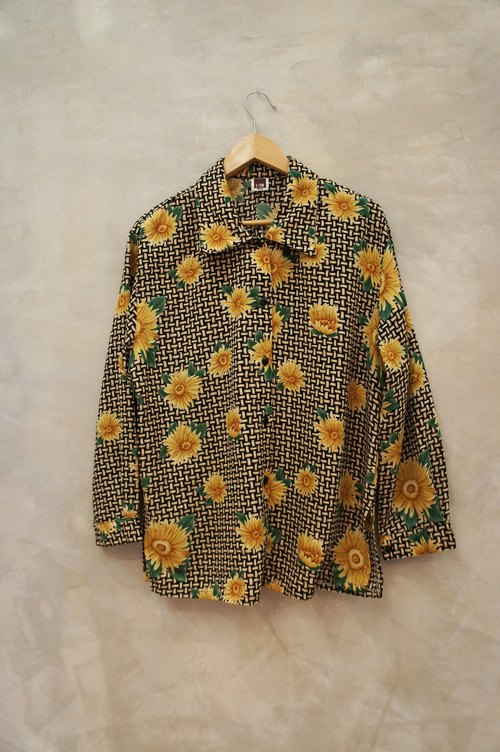 Bamboo painted large yellow flower print chiffon shirt printing PdB vintage