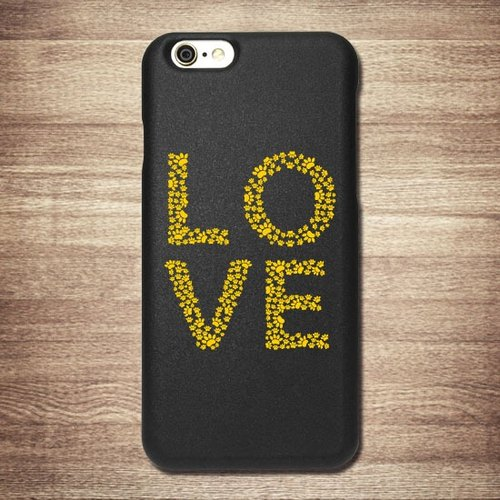 [LOVE- yellow letters Mimi footprints, meow star people] iPhone Black Phone Case