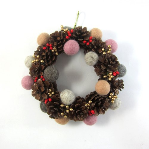 Christmas wreath │ wool ball pine cone wreath No.2 pink, beige