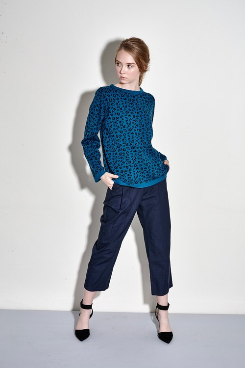 Blue wool sweater knit leopard totem