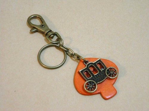 I Love U carriage - leather key ring strap (Orange)