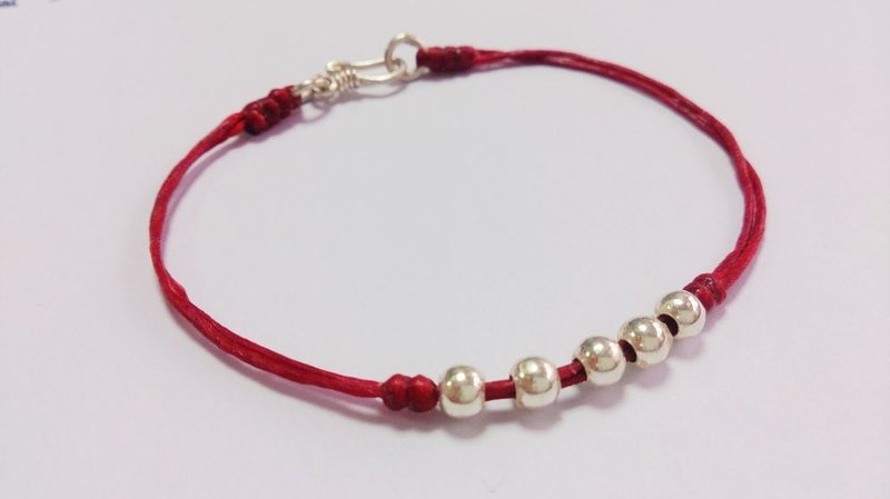 Chinese name red wax rope bracelet sterling silver bracelet lucky rope bracelet wax line bracelet red models