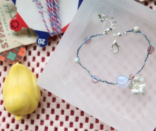 KNIT WITH LOVE French antiques line Blue Chalcedony with silver flower bracelet -2 Perpignan