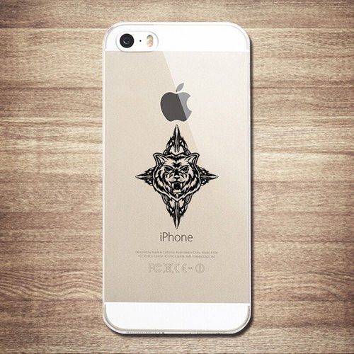 [Painted retro - Cross Wolf] transparent shell commodity -iPhone large tail rogue Tattoo Phone Case