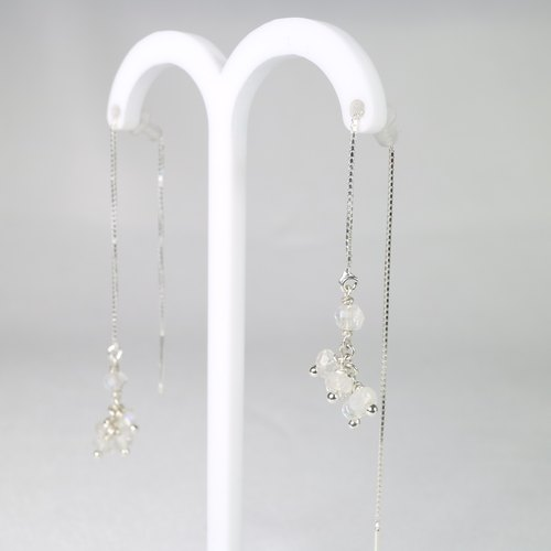 [ColorDay] Moonstone Silver ear chain earrings <Moon Stone Silver Earring>