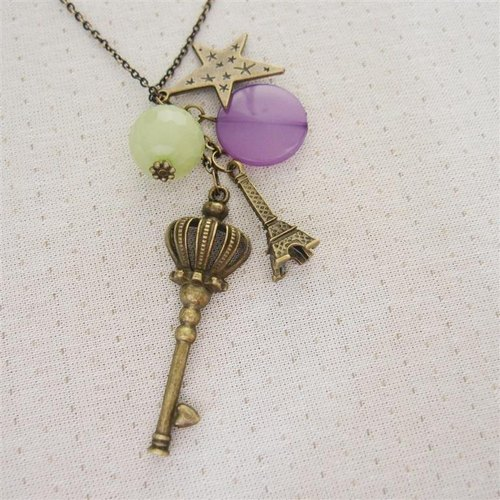 Scepter key beaded long necklace