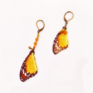 Embroidery Wings Earring / Plain Tiger Butterfly & Great Orange Tip Butterfly