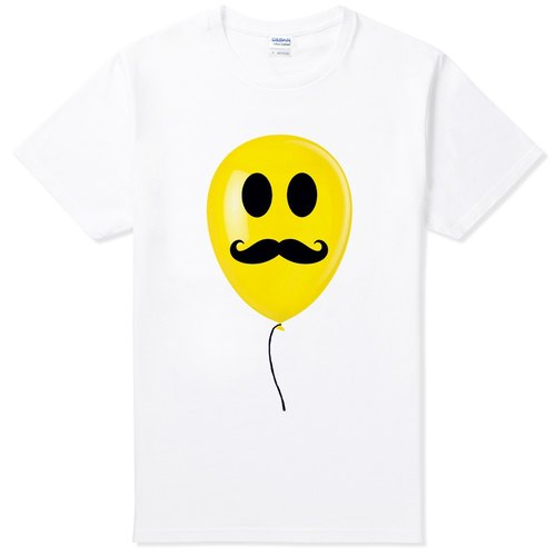 Mustache Balloon T-shirt - white beard mustache glasses green paper balloon art design fashionable cultural and creative fashion