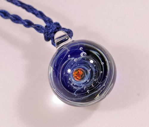 Microcosm microcosmos sea and sky and ... cobalt blue # 21 sphere black opal Marble type glass pendant