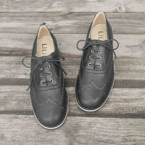 [Time] wing seal groove carved Oxford shoes - classic black (Jinyu 22.5)