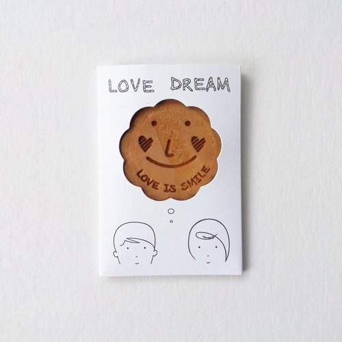 Love dream biscuit card style: LOVE IS SMILE