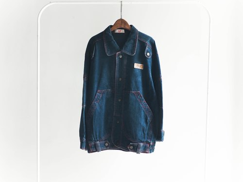 River Hill - Blue Black x red embroider large pocket denim jacket lapel pounds neutral oversize antique vintage cowboy